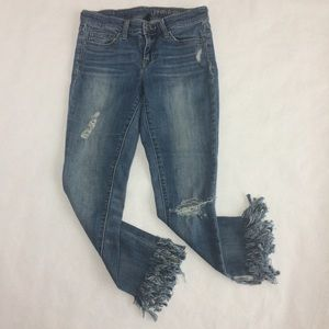 Gap distressed fringe jeans 0/25R